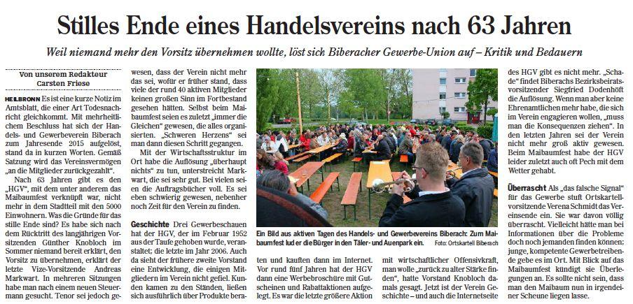 Heilbronner Stimme vom 14.01.2016