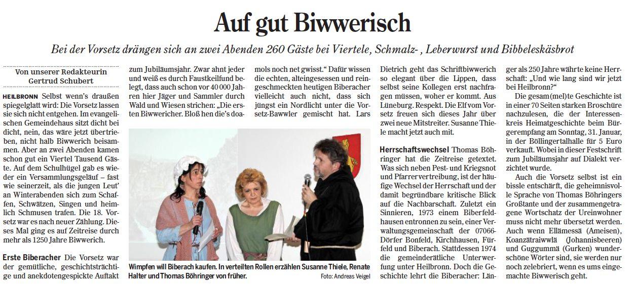 Heilbronner Stimme vom 18.01.2016