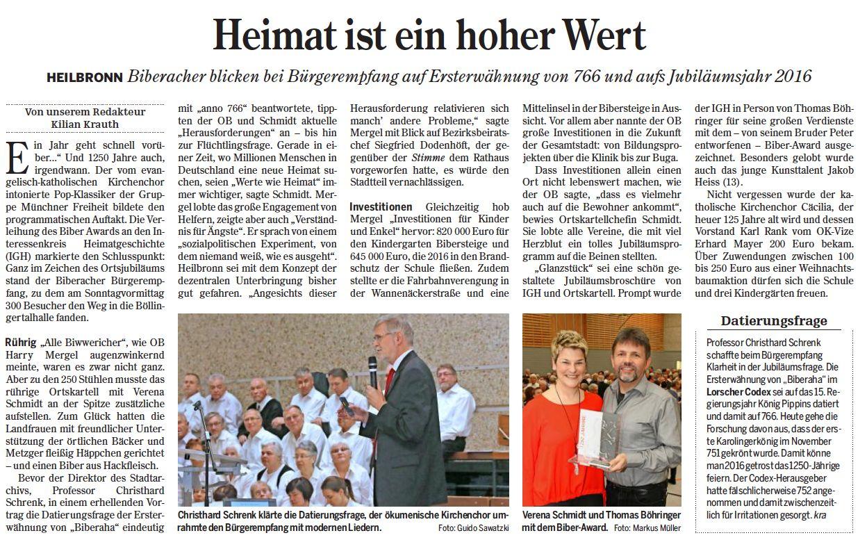 Heilbronner Stimme vom 01.02.2016