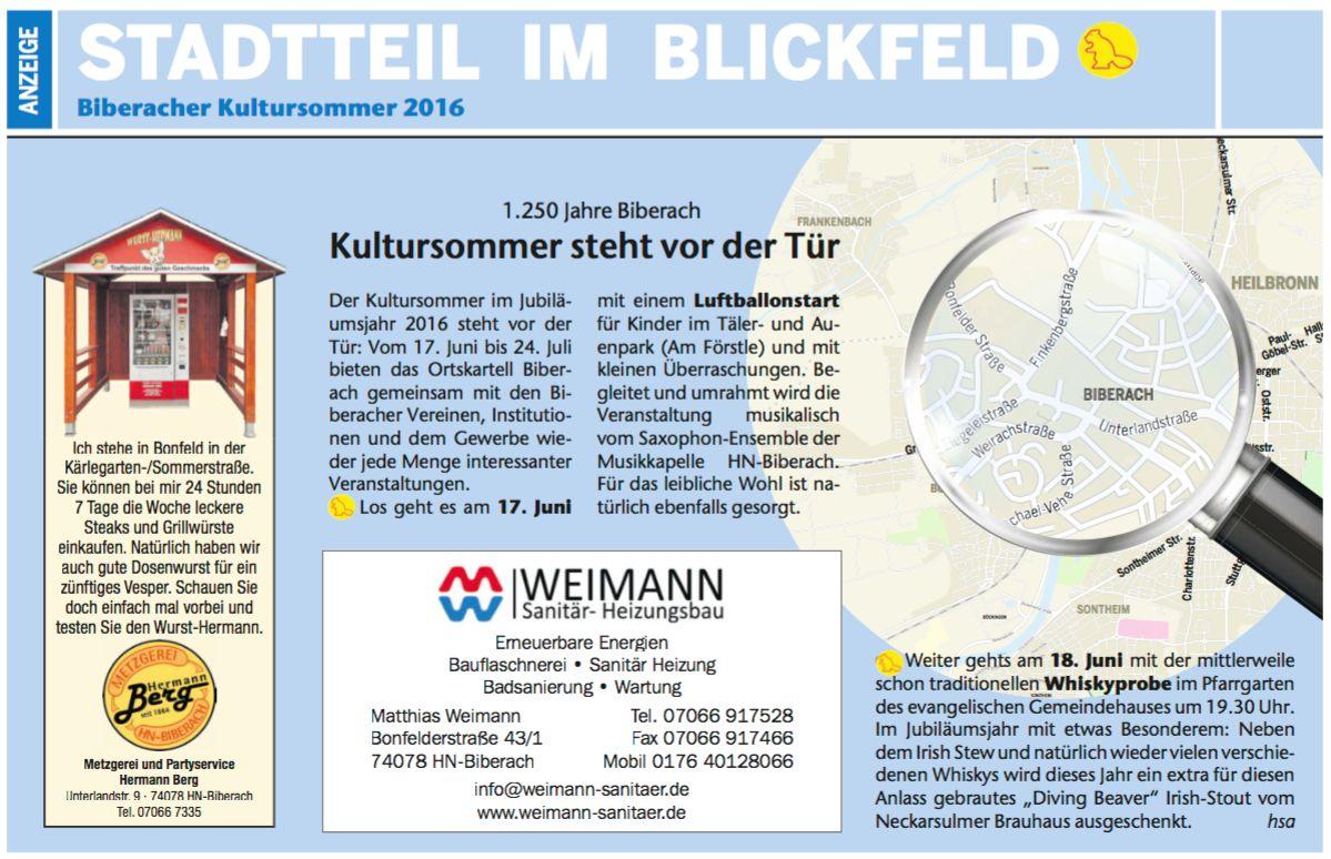 Heilbronner Stadtanzeiger vom 09.06.2016