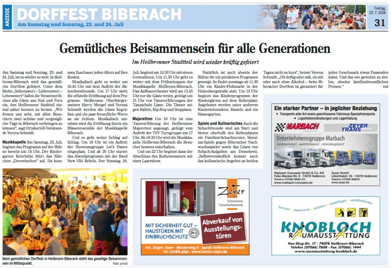 Heilbronner Stimme vom 22.07.2016